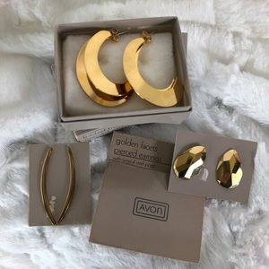 Avon gold set of three earrings vintage look